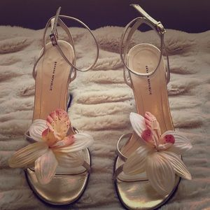 Gold leather wedges with orchid accents